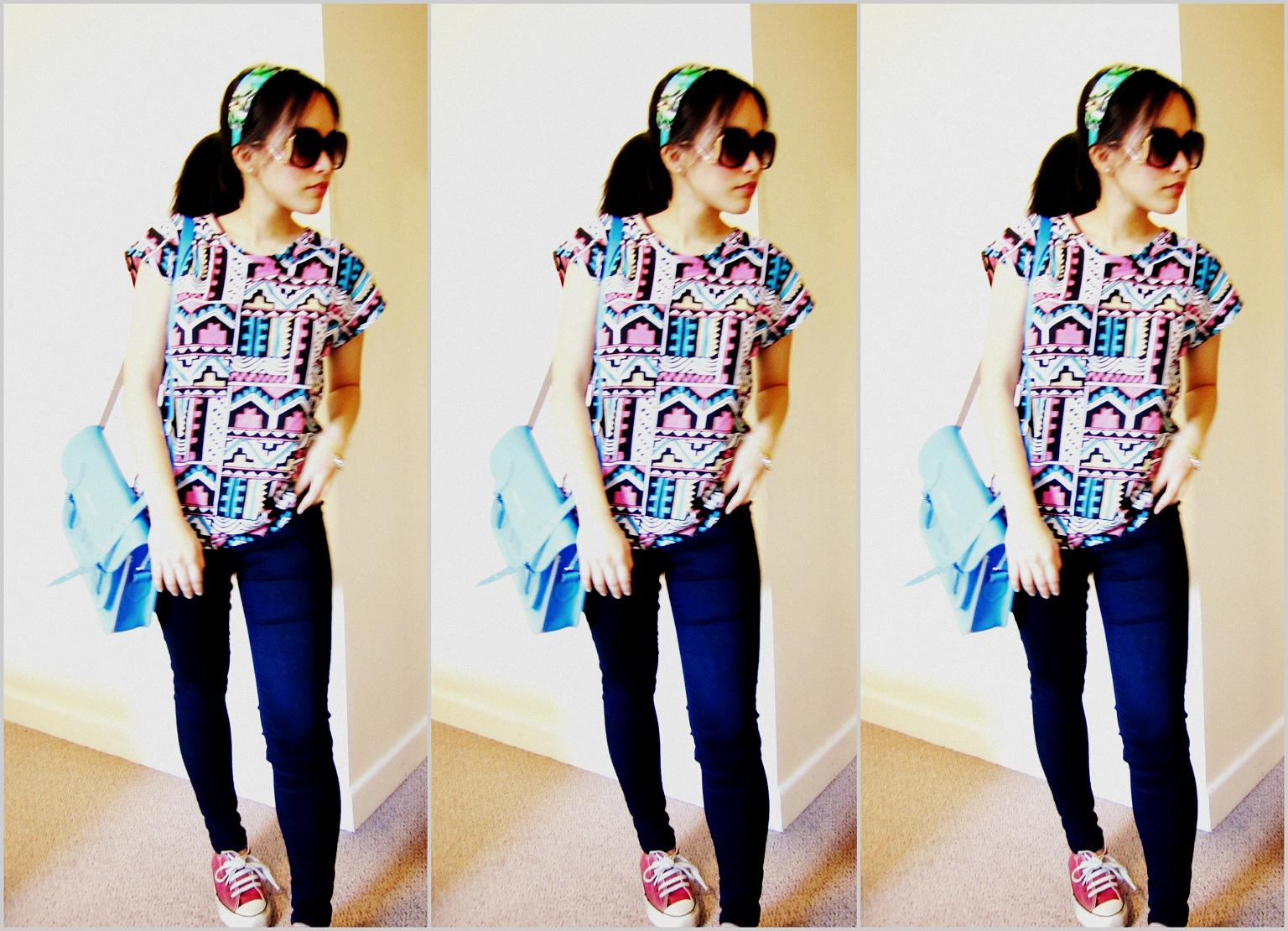 Aztec Print, Neon & Old Converse Shoes minty + ferskener  minty+peaches